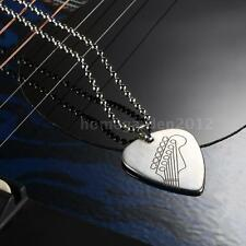 Stainless Steel Guitar Pick Necklace with 50cm/20in Ball Chain Silver K3F4