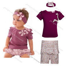 3pcs Baby Girl Kids Clothes Newborn headband +Top+Shorts Outfit Sets 3 6 12 2T