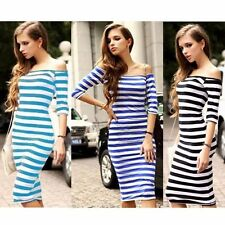 Sexy Lady Dresses Stripe Off Shoulder Bodycon Cocktail Evening Party Women Dress