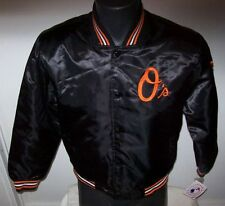 YOUTH BALTIMORE ORIOLES Satin Jacket BLACK Sewn O's Logos YOUTH MED XXL