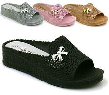WOMENS LADIES CUT OUT FLAT WEDGE HEEL SUMMER SANDALS BEACH JELLY SHOES SIZE