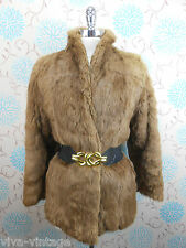 Vintage 1980s Does 1940s Wartime Short Brown Real Coney Fur Retro Jacket Coat 10