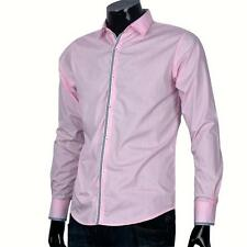 Mens Button Front Solid Tops Long Sleeve Slim Fit Casual Dress Striped Shirts