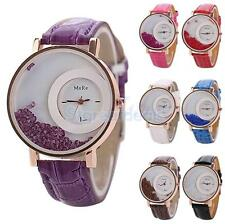 Ladies PU Leather Band Stainless Steel Crystal Dial Analog Quartz Wrist Watch
