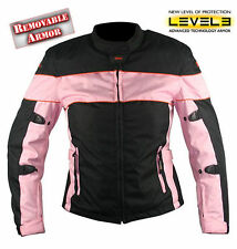 Xelement Ladies Black Pink Tri-Tex Fabric Motorcycle Jacket Level-3 Armored