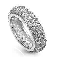 Sterling Silver .925 CZ Micro Pave Women's Eternity Wedding Band Ring Size 5-10