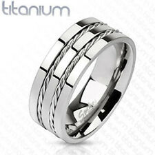 Titanium Men's 8MM Double Rope Inlay Comfort Fit Wedding Band Ring Size 8-13