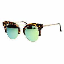 Womens Cateye Butterfly Fashion Sunglasses Trending Flat Frame Mirror Lens