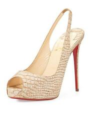 Christian Louboutin PRIVATE NUMBER 120 Cork Liege Slingback Heel Pump Shoes $865