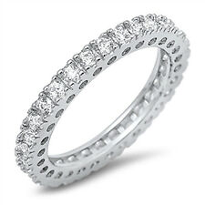 Sterling Silver CZ 925 Women's Anniversary Eternity Wedding Band Ring Size 5-10