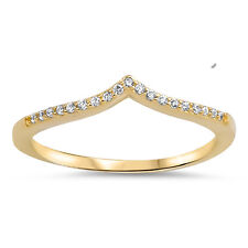 Sterling Silver 925 Yellow Gold Plated V Shape Stackable Fashion Ring Size 4-10