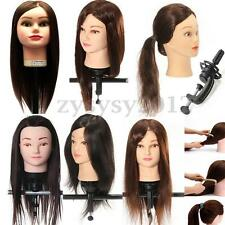 Salon Practice Training Head Human Hair Model Hairdressing Mannequin Clamp UK