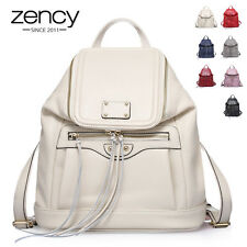 NWT Vintage 100% Zip Genuine Leather Ladies Backpack Laptop Rucksack School Bag