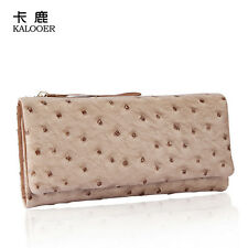 Ladies Genuine Leather Ostrich Skin Long Trifold Wallet Purse Card Holder Clutch