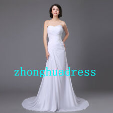 Stock White/Ivory Appliques Strapless Chiffon Wedding Dress Stock US Size 4-20