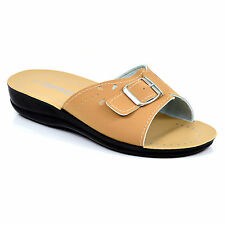 Ladies Spring Summer Wedges Sandals Mules Shoes Beach Beige Size 3 4 5 6 7 8