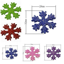 Snowflake Christmas Colorful Acrylic Beads with Silver Glitter Powder 32x28x4mm