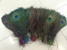 10-100pcs natural peacock tail feathers 10-12 inches / 25-30cm variety of colors