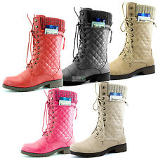 Women Lace-Up Ankle Military Combat Quilted Sweater top Bootie Card Pocket Boots