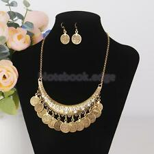 Vintage Jewelry Metallic Coin Earring and Necklace Set Boho Style Bib Front