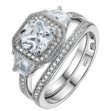 Bridal Set Round White CZ 925 Sterling Silver Wedding Engagement Ring Set 5-10