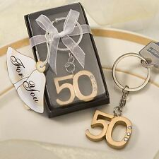 6 X 50th (Golden)Anniversary Key Ring/Chain Favours