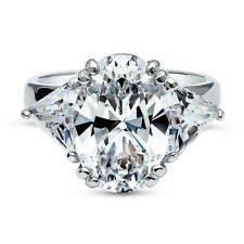 BERRICLE Sterling Silver Oval Cut CZ 3-Stone Engagement Ring 9 Carat