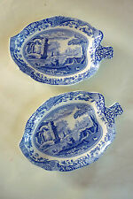 SPODE BLUE ITALIAN LEAF TRAY DISHES - A PAIR - EXCELLENT CONDITION