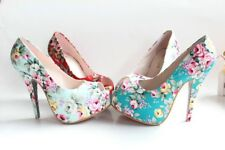 Women's Peep Toe Shoes High Heel Floral Cotton Sandals Platform Pumps US Sz G828