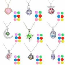 6pcs Disc Hollow Lockets Perfume Oils Essential Aromatherapy Diffuser Necklace