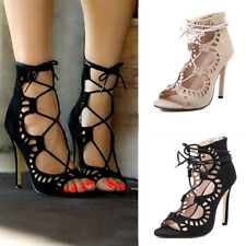 WOMENS CHIC HOLLOWED OUT STILETTO LADIES LACE UP SUEDE HIGH HEELS PEEP TOE SHOES