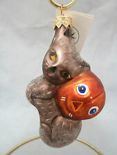 Christopher Radko Boo Boo Kitty w Pumpkin Blown Glass Holiday Ornament. Poland