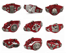 1pcs Genunine leather bracelets Red Cuff Men Bracelet Bangle Wristband Free