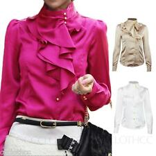 Womens Vintage Party Blouse Collar Button Down Shirt Ladies silky Smart Top Size