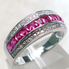 FASHIONABLE RUBY 925 STERLING SILVER RING SIZE J-T