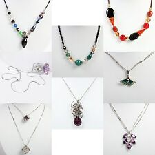 US Seller Woven or Silver Necklace and Swarovski Elements Crystal Pendant JNC02
