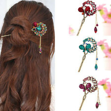 Hot Women Lady Retro Crystal Butterfly Flower Hairpins Hair Stick Hair Clip