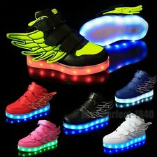 Boys Girls LED Light Up Lace Up Velcro Luminous Sneakers Kids Child Casual Shoes