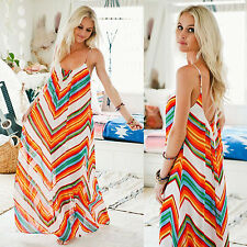 Women Sexy Summer Beach Chiffon Spaghetti Strap Backless Boho Maxi Long Dress