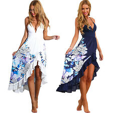 Women Sexy Summer Spaghetti Strap Deep V Floral Maxi Long Asymmetrical Hem Dress