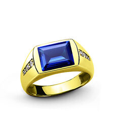 Mens 10k Gold Ring 0.14ct Natural DIAMONDS with Blue Sapphire Emerald Ruby Topaz