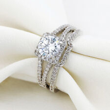 2.1Ct Round White CZ 925 Stering Silver Wedding Band Engagement Ring Set Sz 5-10