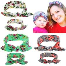 Women Mum + Baby Girl Hairband Boho Bohemian Bow Flower Headband Bandana Decor