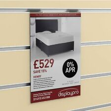 Slatwall Poster Displays Menu Holder Leaflet Shop Sign Clear Acrylic & PVC