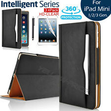 Luxury Leather Smart Case Stand Cover + Screen Protector For iPad Mini 1 2 3