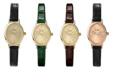 Limit Classic Oval Dial Leather Upper Strap Ladies Watch Gold Green Black Brown
