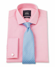 Savile Row Men's Pink Prince of Wales Check Slim Fit Shirt
