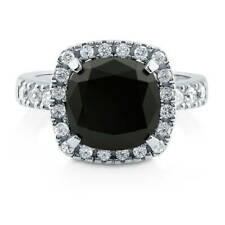 BERRICLE Sterling Silver Cushion Black CZ Halo Fashion Right Hand Cocktail Ring
