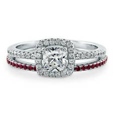 BERRICLE Sterling Silver 0.89 Carat Cushion CZ Halo Engagement Ring Set