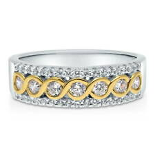 BERRICLE Sterling Silver Cubic Zirconia CZ Woven Half Eternity Ring 0.59 Carat